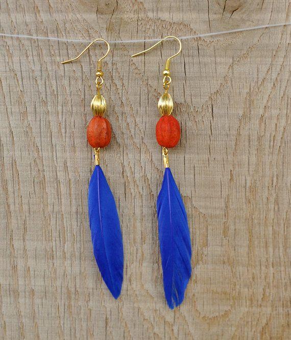 Coucou Suzette / Feather Indie Bohemian earrings / Gypsy elegant earrings / Boho statementEthnic Feather earrings / blue, neon, gold apache earrings / I