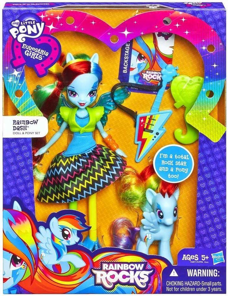 My Little Pony Equestria Girls Rainbow Rocks Rainbow Dash Doll and Pony Set New