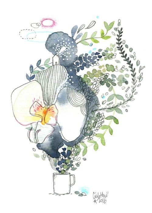 Orchidée & café, Cécile Hudrisier