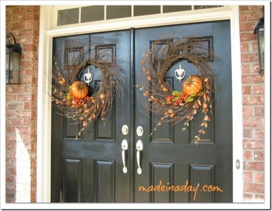 Double Wispy Wreath U0026 Other Fall U0026 Halloween Decor Ideas On This ...