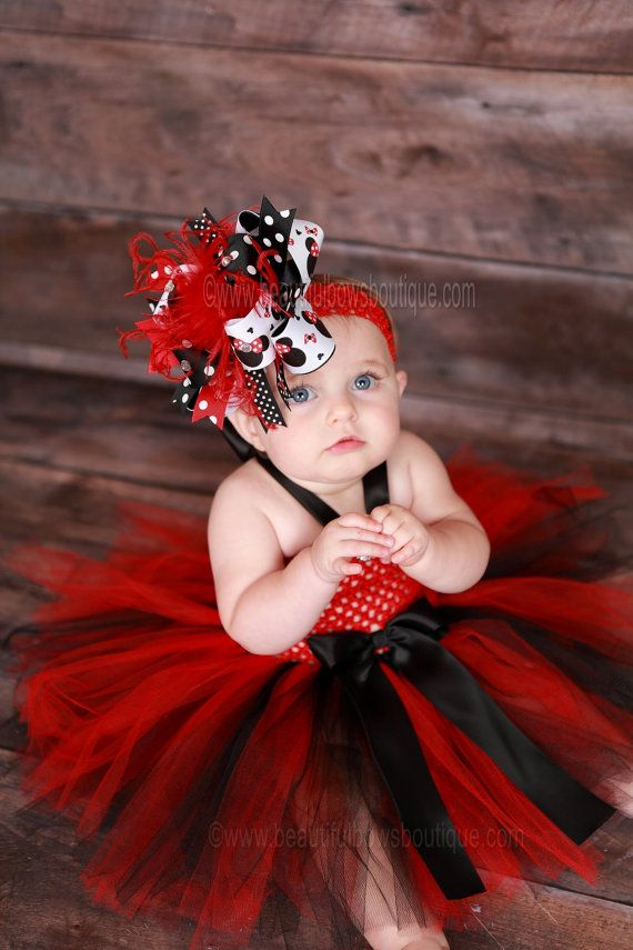 This Red And Black Baby Tutu Dress Is Made With Tulle Attached To A Crochet Top The Matching Minnie Mouse Over Hair Bow