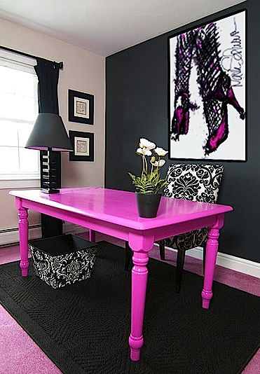 Hot pink and black. SHOE PAINTINGS - MARK SCHWARTZ  www.highheeledart.com Table: razzle dazzle or springtime bloom (2079-40)  Back Wall: Studio Finishes® Chalkboard Paint (307) by benjamin moore