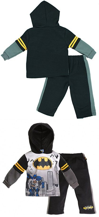 Batman Sweat Suit for Boys - Long Sleeved with Hoodie Top Set - 12 Months
