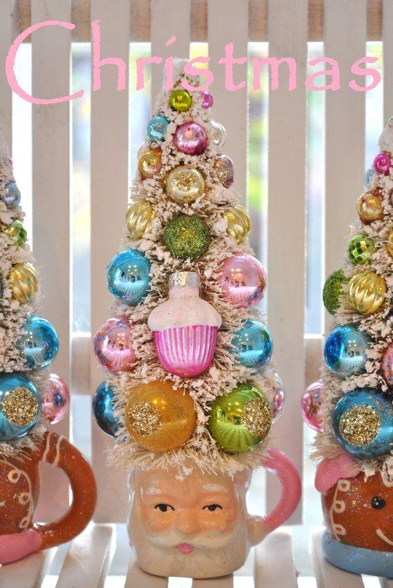 Pink Santa Bottle Brush Tree #holidaysparkle