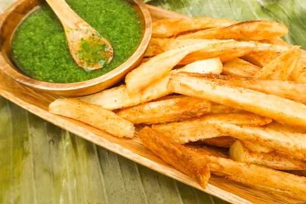Yucca Fries with Cilantro Aioli are a perfect alternative to regular potato fries. Fried or baked with the Cilantro Aioli, they are amazing!