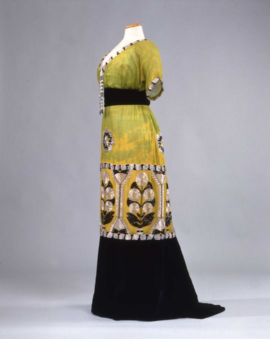Art Nouveau ~ Ephemeral Elegance  Bugle Beaded Chiffon and Velvet Art Nouveau Evening Gown, ca. 1913  via Palazzo Pitti