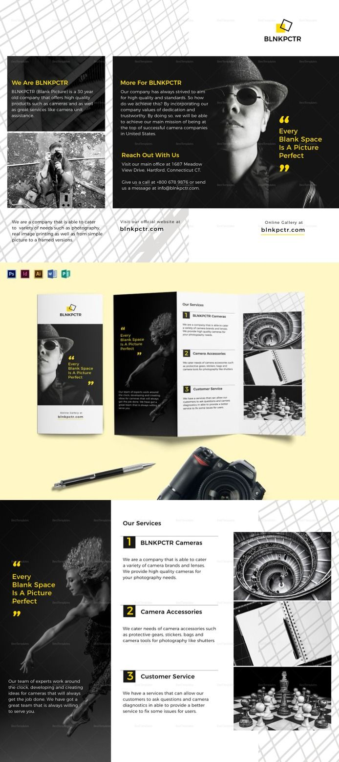 Blank Photography Tri Fold Brochure Template Photography