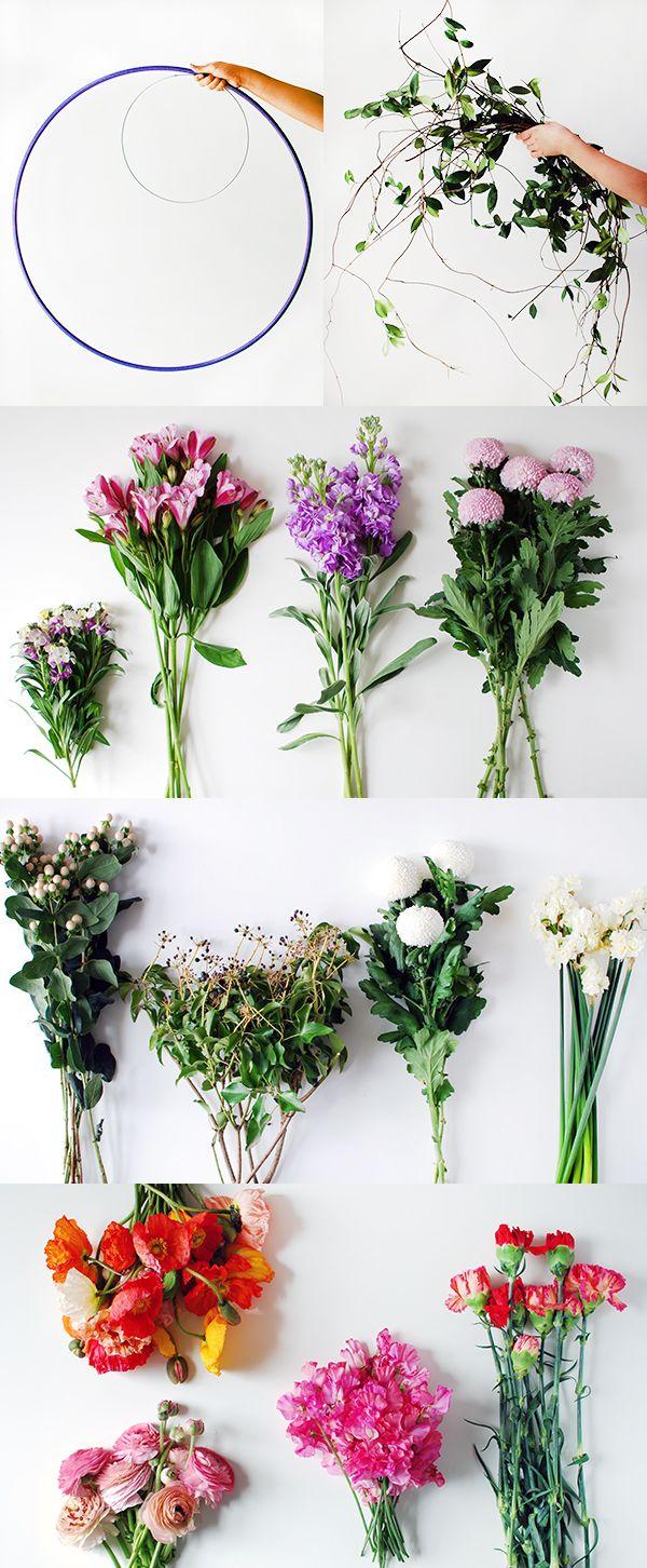 Materials to make a DIY fresh flower hanging chandelier