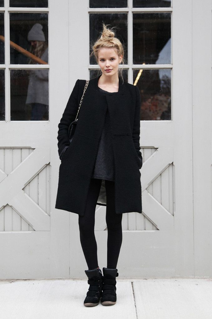 How to Wear All-Black: Street Style Fashion Texture Fur Coat Sneakers, Top Knot Outfit