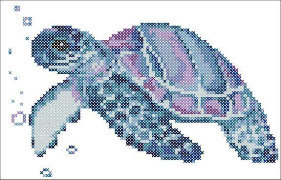 Galaxy Sea Turtle Counted Cross Stitch Pattern CHART ONLY