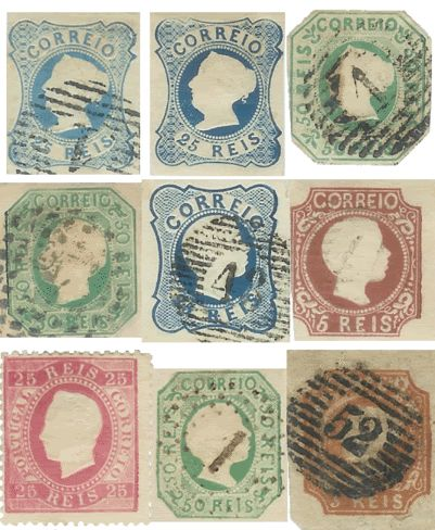 Primeiros selos portugueses, de D. Maria II a D. Pedro V e D. Luís I