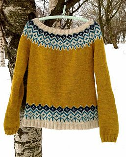 This design is a true modern classic, the bold colors together with the traditional fair isle motif make this a wa-wa-woom sweater! :) The neck opening is quite generous and resembles a boat neck opening which is very flattering and feminine. The design will keep you warm while looking chic and unique.I have chosen to work with very strong colors which bring out the details of the fair-isle pattern, I encourage you to try out different color combinations but if you want to knit exactly this…