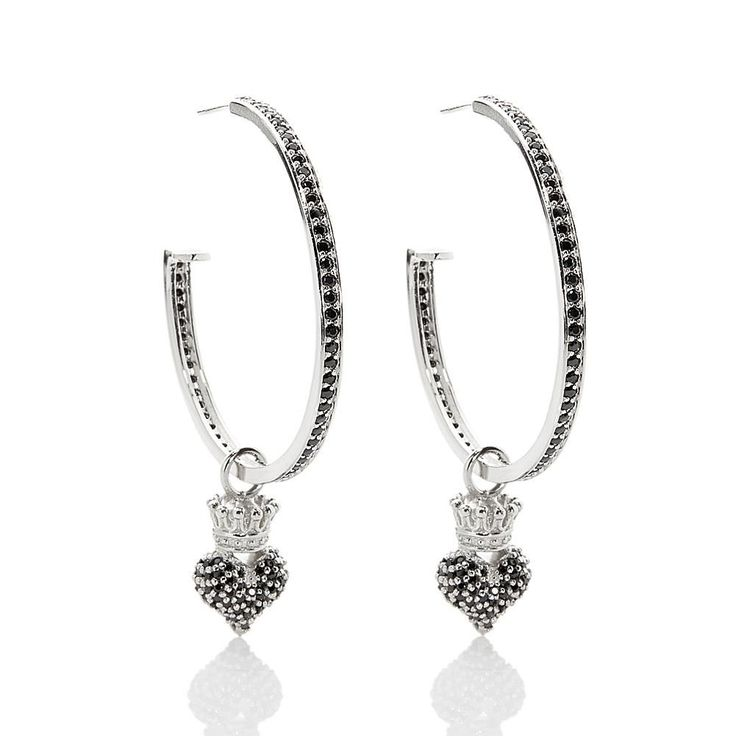 King Baby Jewelry King Baby Sterling Silver 2.44ctw CZ Removeable Crowned Heart Hoop Earrings - Black