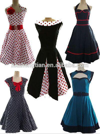 ropa de los años 50 e ideas de vestidos con distintas telas