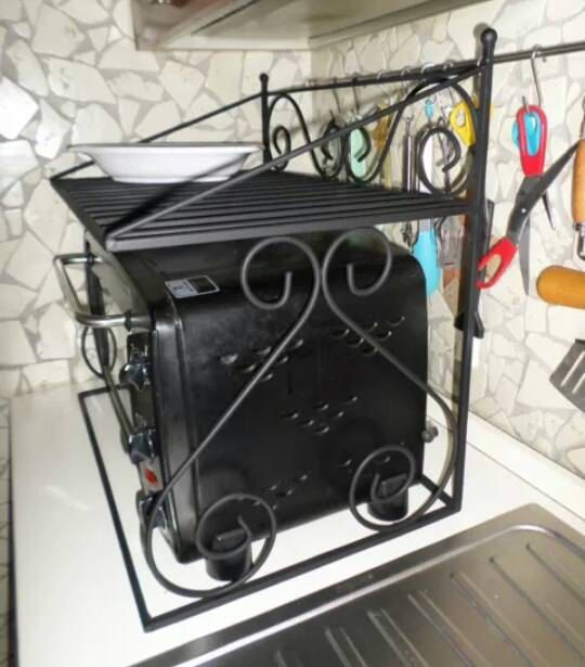 Wrought iron shelf space saver microwave oven for artisan