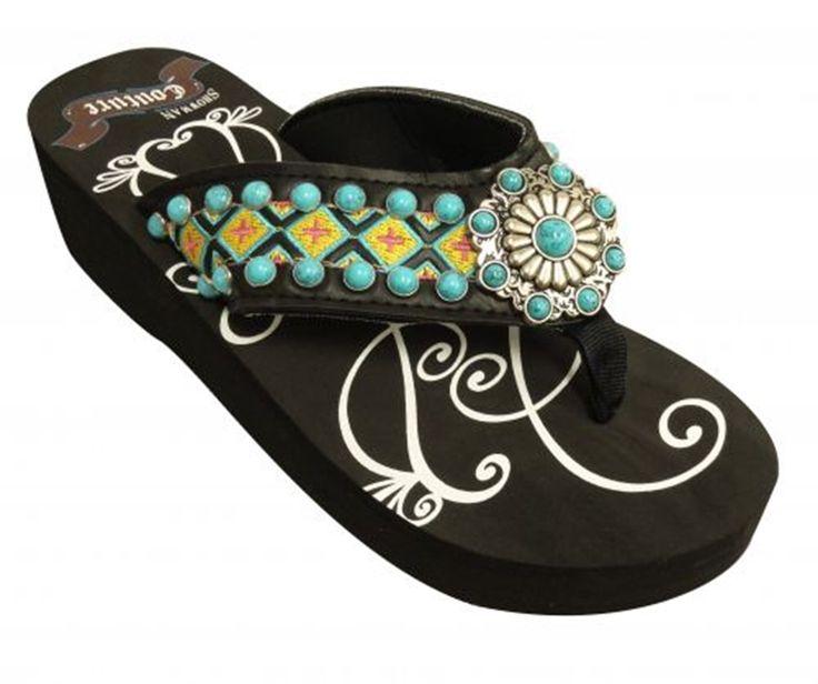 3544509500c - Aztec Turquoise Concho Flip Flops  STFF09