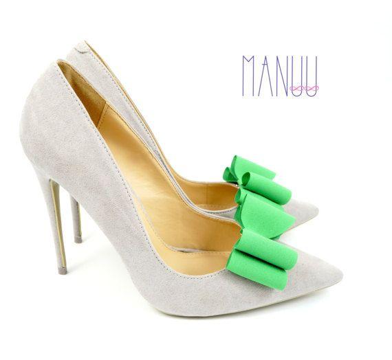 Green bows - shoe clips Manuu, shoe accessories, shoe bows, bow shoe clips