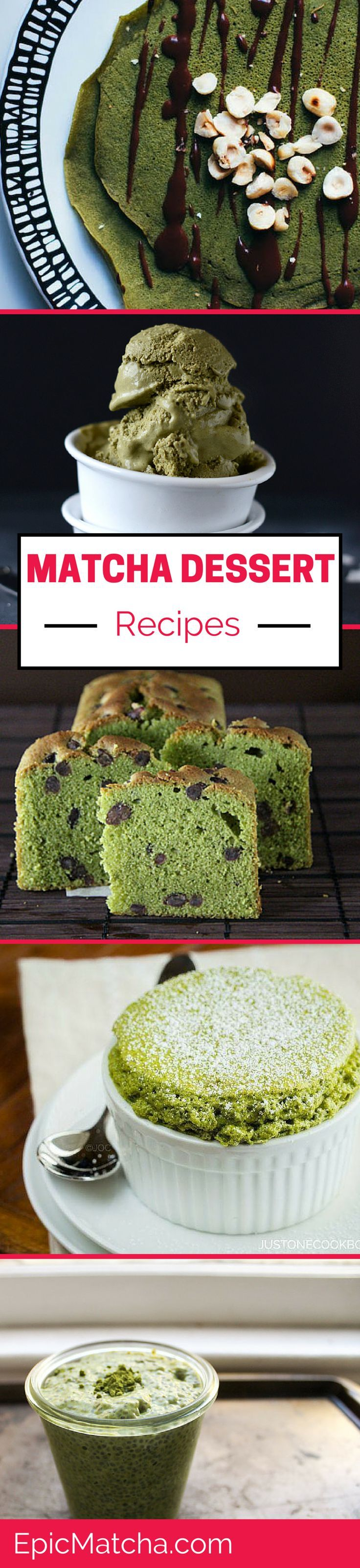 Five matcha dessert recipes: Matcha Pound Cake, Matcha Green Tea Souffle, Green Tea Coconut Ice Cream, Matcha Gluten-Free Crêpes and Matcha Chia Seed Pudding. Plus, get our 16 Recipes for drinking matcha tea! http://epicmatcha.com/matcha-dessert-recipe/?utm_source=pinterest&utm_medium=pin&utm_campaign=social-organic&utm_term=pinterest-followers&utm_content=blog-matcha-dessert-recipes-cake-souffle-crepes-pudding-and-ice-cream