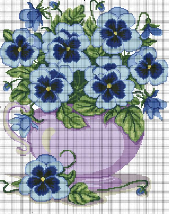 inspiration for ribbon pansies - - - Cross stitch *♥* Point de croix