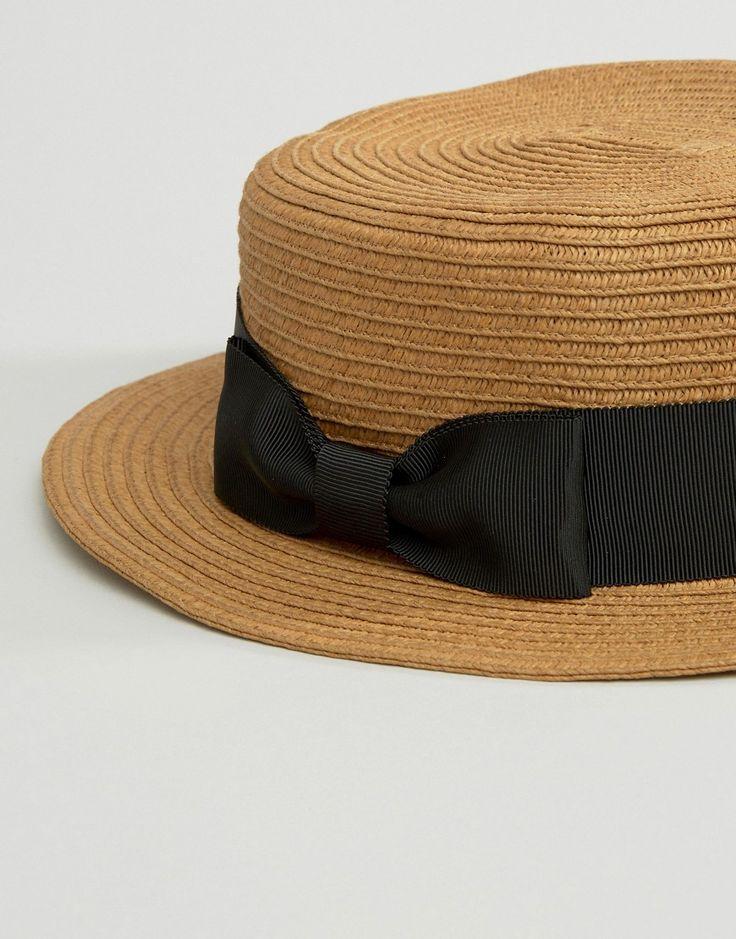 Genie By Eugenia Kim - Tess - Cappello in paglia cammello con nastro nero con fiocco hat