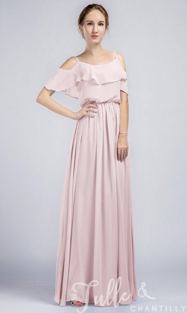 Long Ruffled Off Shoulder Passion Chiffon Bridesmaid Dress TBQP332 click for 40+ colors