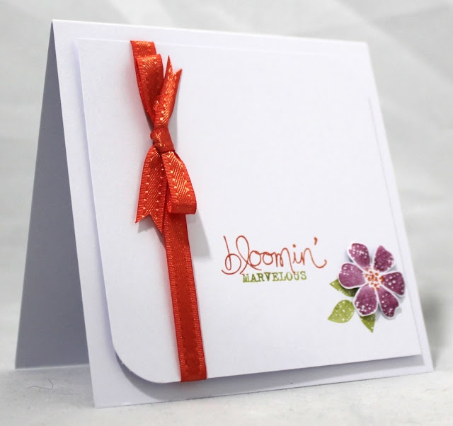 Sale- A-Bration Card from Stampin' Up!...Bloomin' Marvelous stamp set, Tangering Tango ribbon from Sycamore Street Ribbon and Button Pack.  Whisper White CS, Tangerine Tango, Rich Razzleberry, Old Olive ink from Annual Catalog