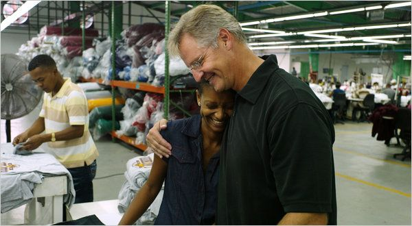 Joseph Bozich, C.E.O. of Knights Apparel, and Mireya Perez, a union leader. In the Dominican Republic, a Knights plant pays far above industry averages. #nytimes @ altagraciaapparel.com #changelives