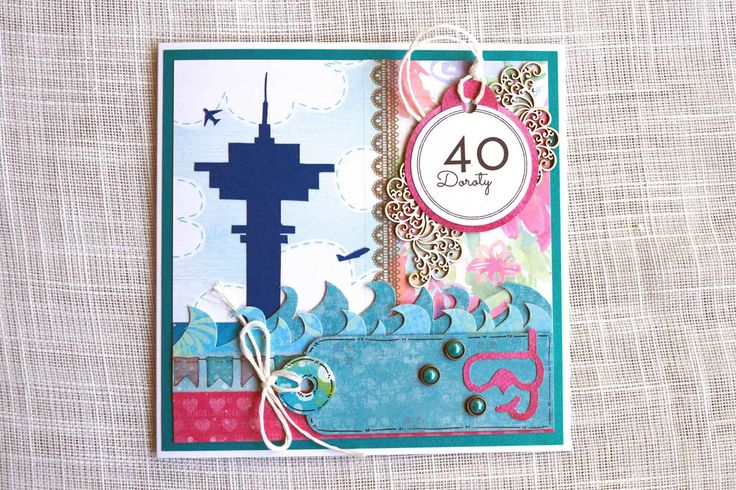 Kartka urodzinowa dla koleżanki, która pracuje jako Kontroler Ruchu Lotniczego, a oprócz tego uwielbia nurkować. #kartka #birthdaycard #papercard #papercrafts #craft #handmadecard #handmade #scrapbooking #scrapbookingcards #rekodzielo #lotnisko #ulc