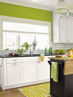 grey cream lime green kitchen - Google Search