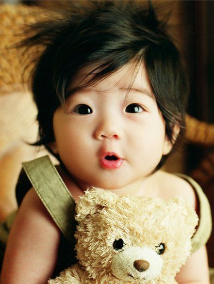 Asian baby with teddy bear! I told my bf that this is what our kids will look like, but he doubts that they will look this Asian :(
