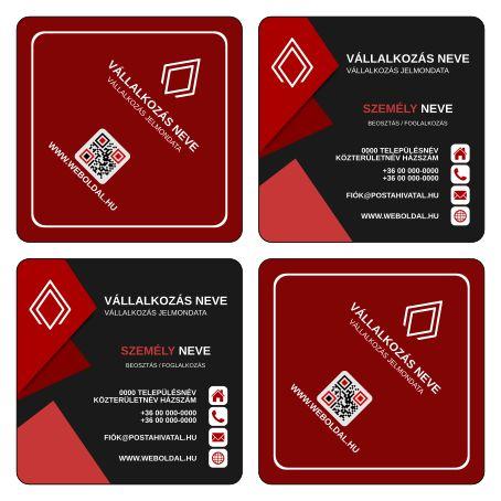 Üzleti névjegykártya másként  (ABC - Another Business Card) tervek (Inkscape - SVG formátum) Vörös / Fekete