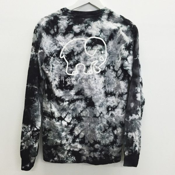 Pocketed Black Acid Wash Tie-Dye Classic Print ($42) ❤ liked on Polyvore featuring tops, long sleeve cotton shirt, black tie dye shirt, black top, tie dye shirts and long sleeve shirts
