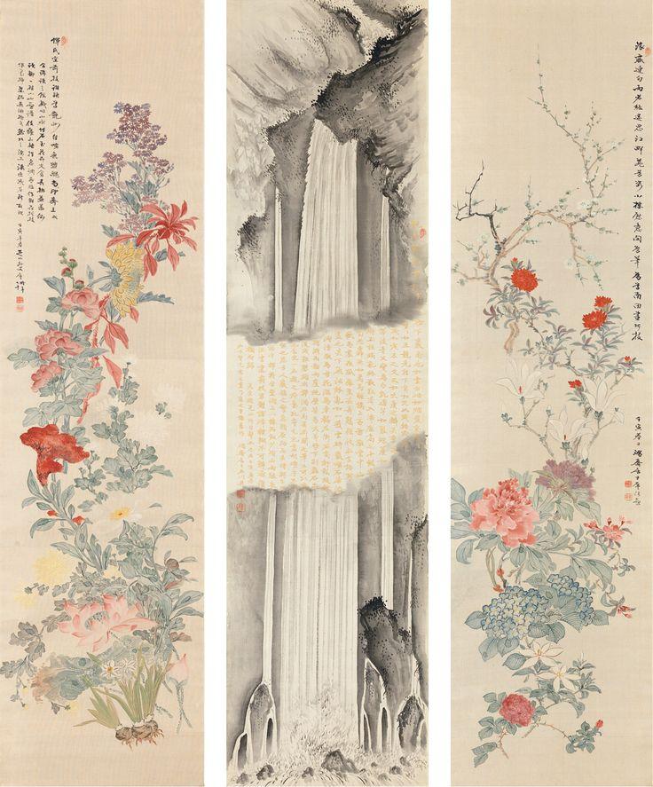 Burke Collection | Kegon Falls and Flowers-  Ishikawa Kōsai  (石川鴻斎; late 19th–early 20th century)