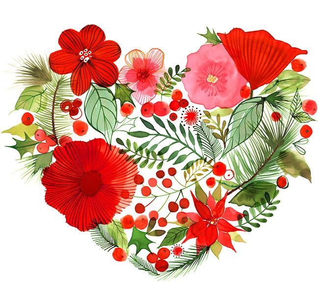 Margaret Berg Art: Christmas Wreath Heart: