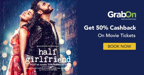GrabOn Exclusive Code! Catch #HalfGirlfriend at a theatre near you 💞   #bollywood #ShraddhaKapoor #ArjunKapoor #India #movies #offers #coupons #couponcode