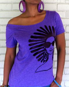 """Image of The """"Afro Locs"""" Off The Shoulder Tee in Heather Grape Purple"""