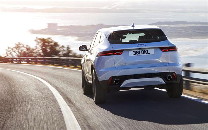 Download wallpapers Jaguar E-Pace, 2018, 4k, exterior, rear view, new white E-Pace, road, sunset, Jaguar