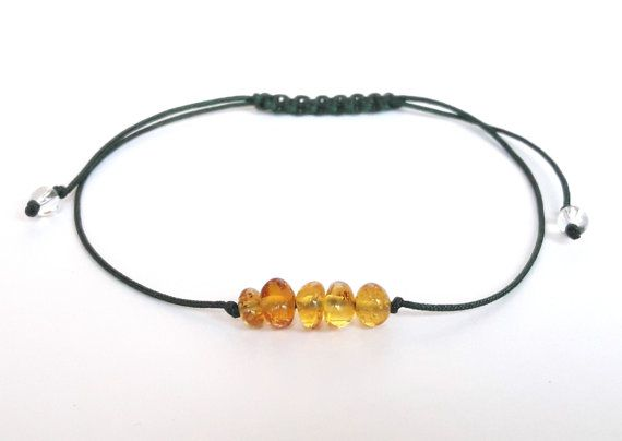 Minimalist amber bracelet cognac amber от AmberJewelryStore