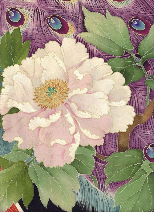 """huariqueje: """"Yuzen томэсодэ Кимоно (Detai) * Японские изделия ручной работы позднего к раннему Meiji Taisho (1900-1920) * пара элегантных павлины среди пионы и бамбуковой травы ..."""" http://www.thekimonogallery.com/1679.html~~HEAD=pobj для других изображения из той же кимоно"""