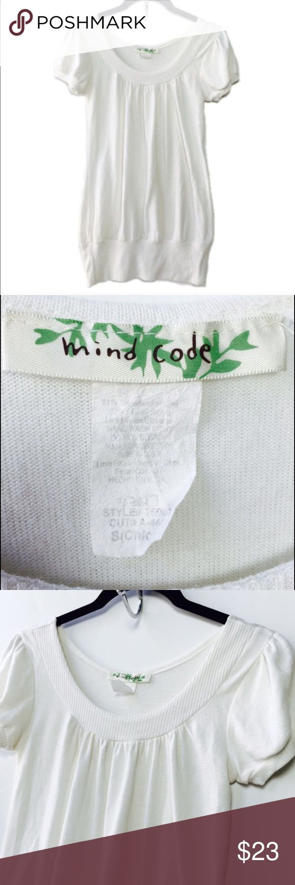 {{BLACK FRIDAY SALE}} White light knit short sleeve sweater from Mind Code. Sold at Urban Outfitters. Size Small.  No tears, holes, stains, fading or defects. Thanks for stopping by!! As always, all items are from a smoke-free and pet-free home  Thanks for shopping Reclaimed Treasure Resale ❤️ Urban Outfitters Tops
