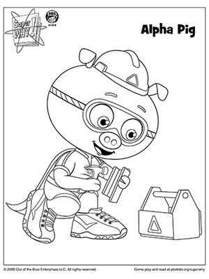 """Alpha Pig, with alphabet power!"" More SUPER WHY Coloring Pages: http://www.parents.com/fun/printables/coloring-pages/super-why-coloring-book-pages/?socsrc=pmmpin051412alphapigcoloringpage"