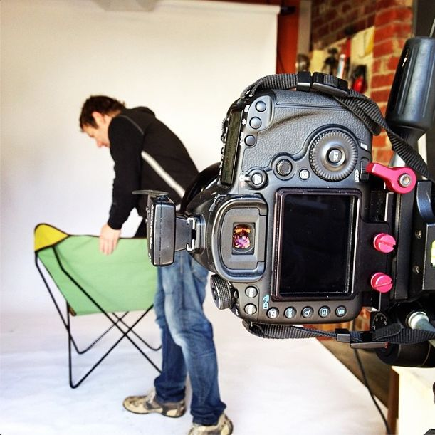 Photographer Liam Lynch preening our butterfly chair for her reverse shot. {www.TheButterflyChair.com.au — Made in Castlemaine}