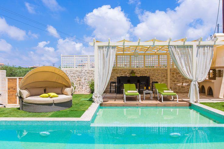 Mare Villas (Villa Green Mare) in Rethymno, Crete. #villa #greece #crete #vacationrental #luxury #private #pool #island #sea #view #blue #green #sitting_areas