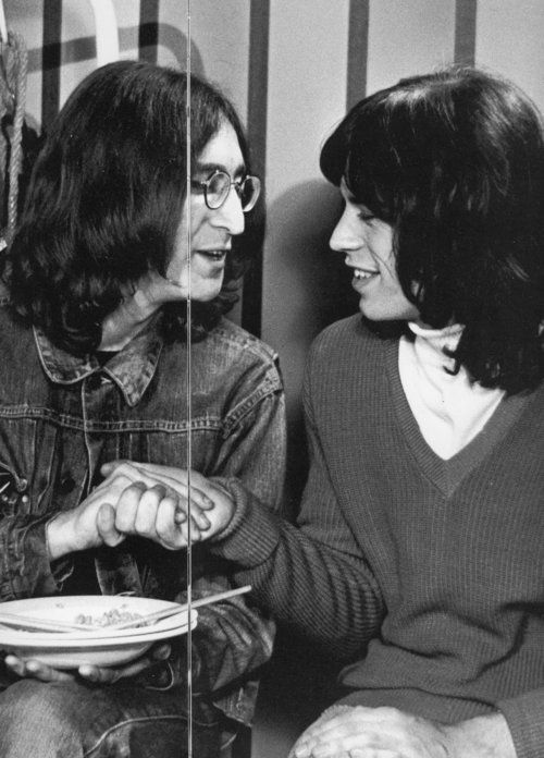 Lennon & Jagger. Jagger was at many Beatle sessions. Maybe soaking up mix ideas,  ideas, ideas, but it seems from photo's that Jagger & Lennon were good friends back to NYC days too.