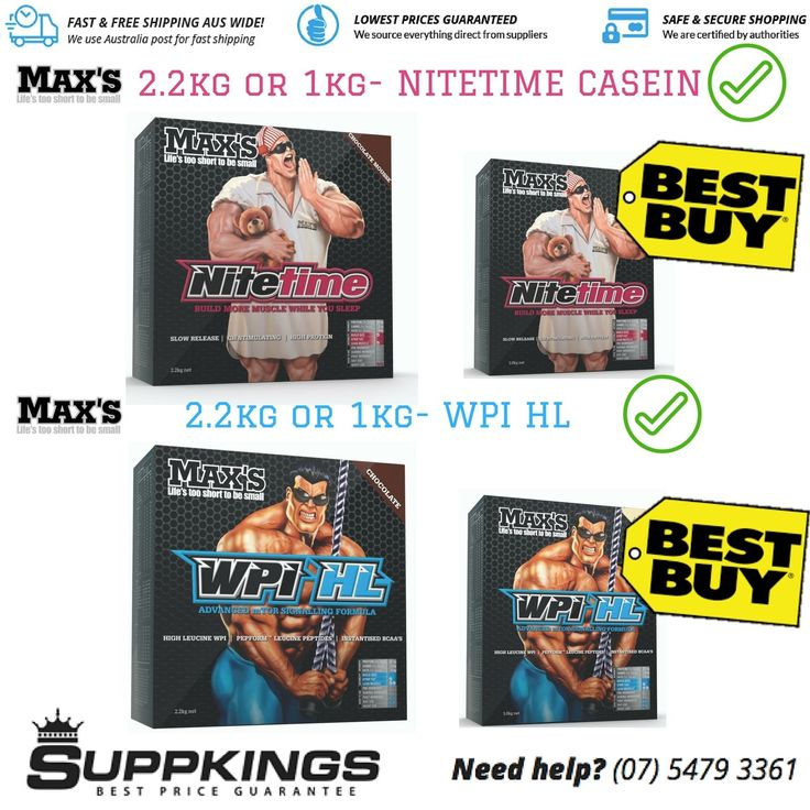 MAX'S ANABOLIC NITE TIME CASEIN PROTEIN + WPI   WHEY PROTEIN ISOLATE VALUE PACK