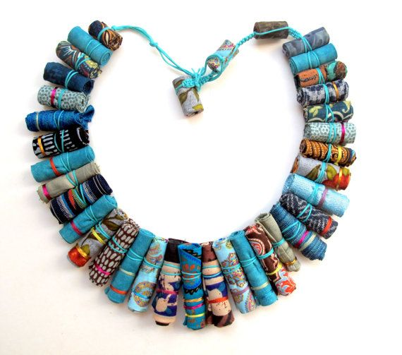 Ethical Frida Kahlo statement fiber necklace, turquoise fiber necklace, ethnic fiber only necklace, metal free fabric necklace