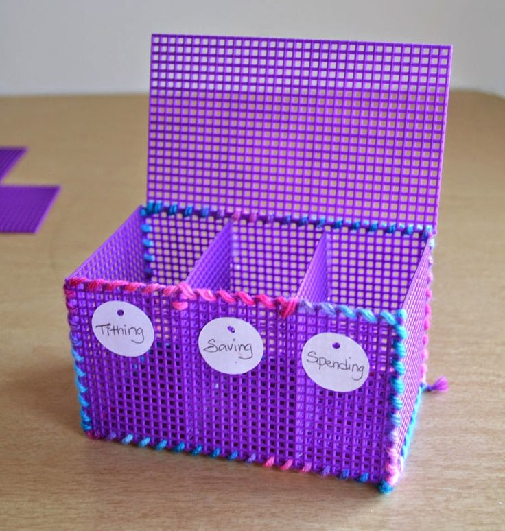 Tithing Savings Spending Box or Bank DIY for LDS Activity Days - we did this when we talked about goals and money.