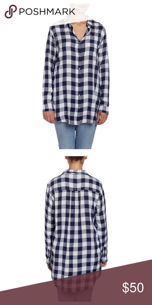 Plaid Tunic - Navy & White A long sleeved, button down tunic made in gorgeous plaid. With it's long length and high slit, you can wear this both tied and untied! Lightweight, this is perfect for layering. Jag Jeans Tops Tunics