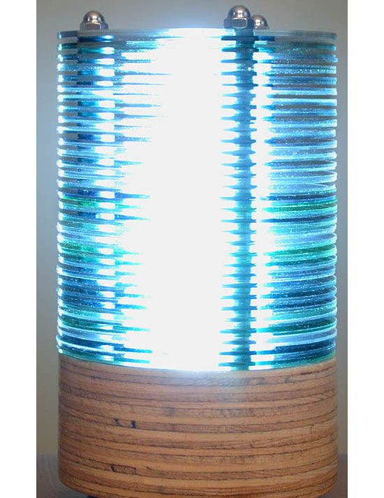 The CD crafts on this website are amazing. This is a lamp made out of old CD crafts