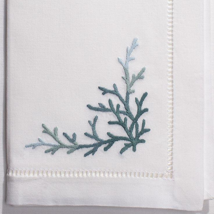 Coral Teal<br>Napkin - White Cotton